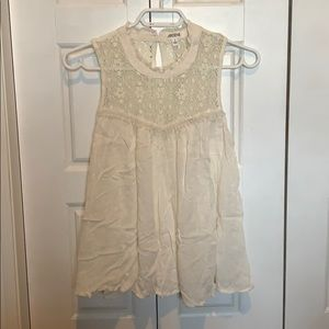 White Lace Tank Top with high neck.